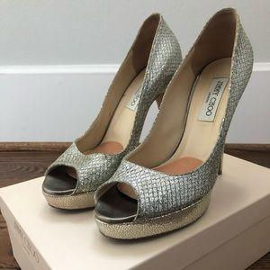 Jimmy Choo Crown peep-toes, glitter champagne, 40